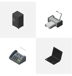 Isometric cabinet set of office phone laptop vector