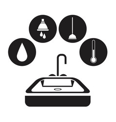 Black silhouette bath with circular frame icon vector
