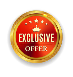 Exclusive offer golden medal icon seal sig vector