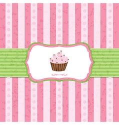 Pastel Vintage Cupcake Background vector image