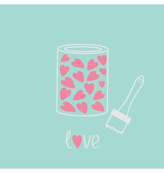 Love paint with hearts inside card pink and blue vector