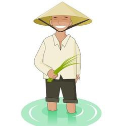 Vietnamise man with paddy in his hands vector