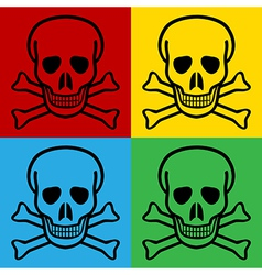 Pop art skull and bones danger sign icons vector