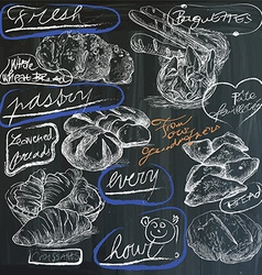 Food - hand drawings on blackboard pack vector