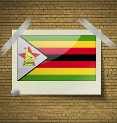 Flags zimbabweat frame on a brick background vector
