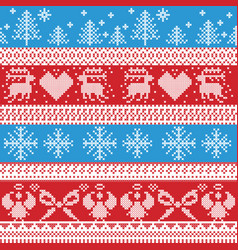 Blue and red nordic christmas winter pattern with vector