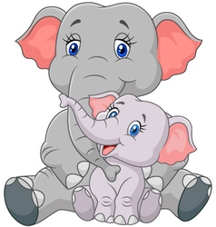 Mom and baby elephant sitting on white background vector image
