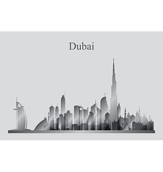 Dubai city skyline silhouette in grayscale vector