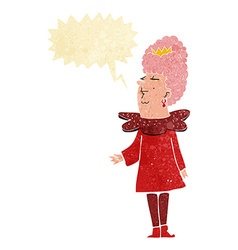 Cartoon queen with speech bubble vector