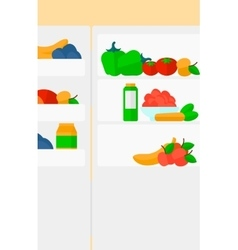Background of refrigerator full of fruits and vector image
