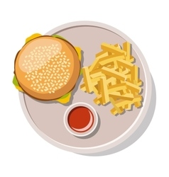Hamburger and french fries isolated on white vector