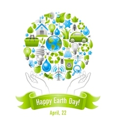 Ecological set with human hands and icons vector