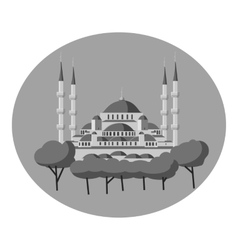 Blue mosque of Turkey icon gray monochrome style vector image vector image