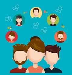 Character teamwork social network concept design vector