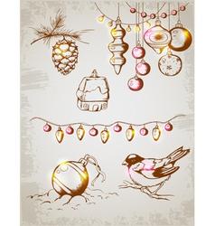 Christmas decoration retro vector