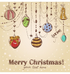 Christmas hand drawn decorative postcard vector image vector image