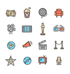 Cinema Colorful Outline Icon Set vector image vector image