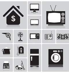 Electric machine and house icon set vector