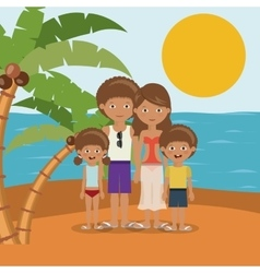 family beach vacation design vector image