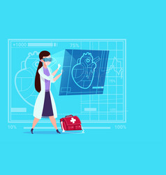 Female doctor cardiologist examining digital heart vector