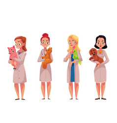 Female woman veterinarian doctors vets holding vector