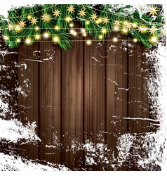 fir branch with neon lights and ice on wooden vector image vector image