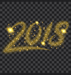 golden particles wave in form of 2018 digits vector image
