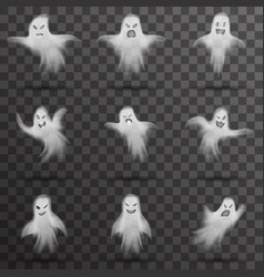 Halloween white scary ghost isolated template vector