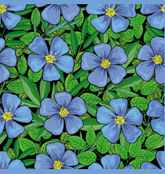 Hand drawn flax flower seamless pattern vector