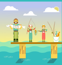 Happy family go fishing in vector