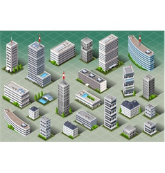Isometric european buildings vector