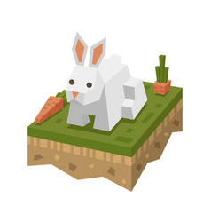 Isometric flat white rabbit on the tile of ground vector