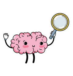kawaii happy brain with magnifying glass vector image