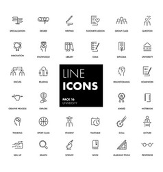 line icons set university vector image vector image