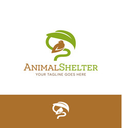 logo of bird sheltered under leaf vector image vector image