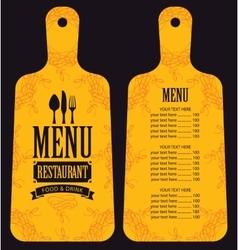 menu in the form of cutting board vector image vector image