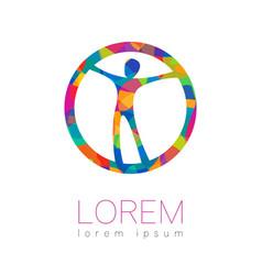 Modern human silhouette in circle logotype vector