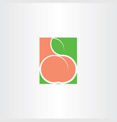 Peach fruit logo icon vector