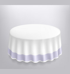 Round table with a white cloth vector image