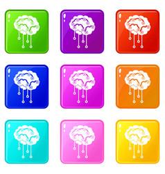Sensors on human brain icons 9 set vector