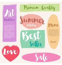 Set of painted brush style label vector