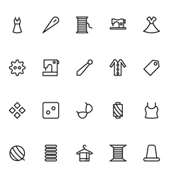 Sewing line icons 5 vector