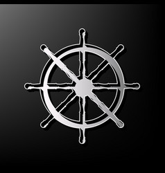 Ship wheel sign gray 3d printed icon on vector