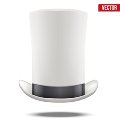Tall White gentleman hat cylinder with black vector image vector image
