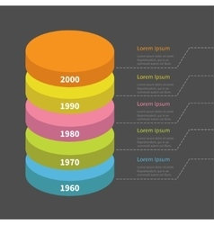 Timeline vertical round colorful segment stack vector