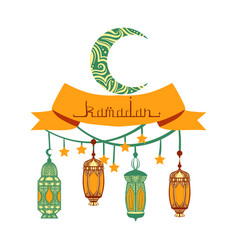 Traditional lantern garland of ramadan kareem vector