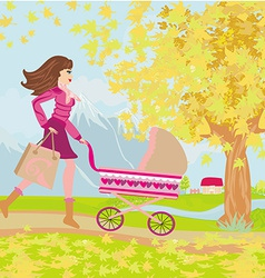 Young mom taking her baby for a stroll through vector