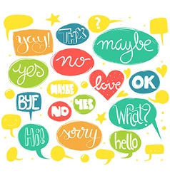 Hand drawn words in sketchy speech bubbles vector