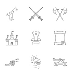 Military middle ages icons set outline style vector
