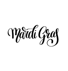 Mardi gras black and white calligraphic lettering vector